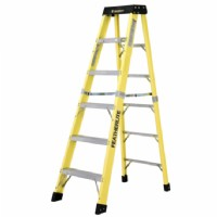 6FT Fiberglass Step Ladder Yellow Rails
