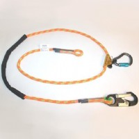Adjustable Rope Lanyard with fixed Aluminum Snap Hook and removable aluminum double-locking carabiner