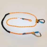 Adjustable Rope Lanyard with fixed Aluminum double-locking Carabiner and removable double-locking carabiner, 8